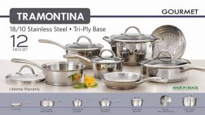 Tramontina 80116/249DS Gourmet Stainless Steel Induction-Ready Tri-Ply Clad 12-Piece Cookware Set Reviews